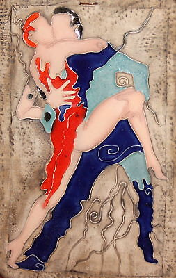 Modernist Love Dancing Coulple Pottery Enamel Wall Decor Plaque Signed