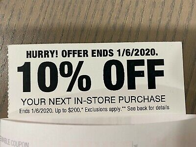 HOME DEPOT—10% OFF In-Store Purchase up to $200—USPS mail out! Exp. 1/06/20