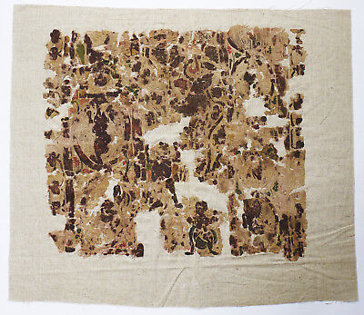 4-8C Ancient Coptic Textile Fragment - People and Flower Patterm, Christian arts