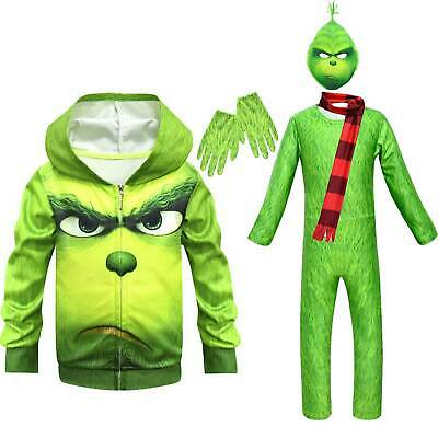 Kids Boys The Grinch Cosplay Costume Fancy Dress Christmas Mask Jumpsuit Hoodies