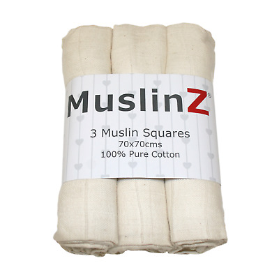 MuslinZ 3PK Baby Muslin Squares 70cms 100% Pure Soft Cotton Natural