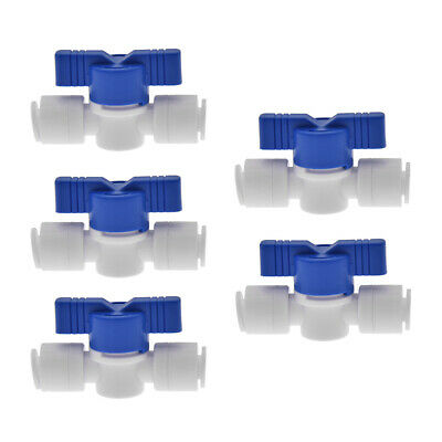 "5pcs 1/4"" OD Ball Valve Quick Connect Push In to Connect Water Tube Fitting US"