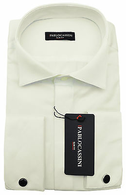 Pablo Cassini Dress Shirt Cream Champagne Concealed Placket Cuffs
