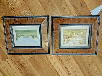 "Pair Antique Vtg Birdseye Maple Burl Frames 15 1/2"" by 13 1/2 Fit 7 1/2 by 9 1/2"