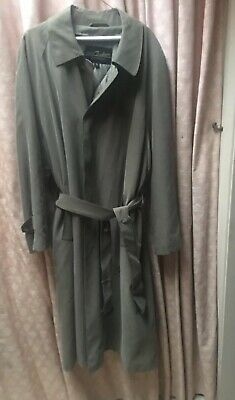 Mens Olive Uomo Couture Italy Trench Coat XL Belt Zip Out Lining Vito Rufolo