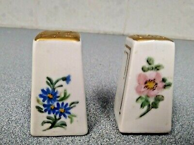 Adorable hand-painted  individual salt & shakers trimmed with gold gold