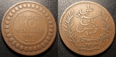 Tunisia - Protectorate French - Ali, Bey - 10 Cents ١٣٠٩ - 1892 a Jl #95