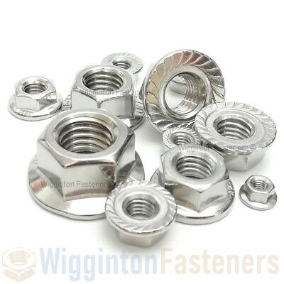 M3 M4 M5 M6 M8 M10 M12 Flanged Nuts (Serrated) A2 STAINLESS STEEL DIN 6923