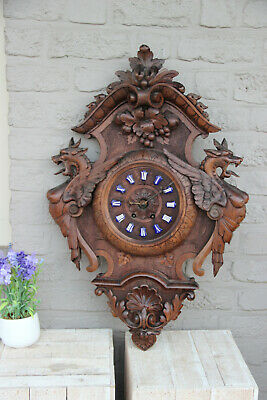 Antique Black forest wood carved dragon Griffin gothic castle clock rare