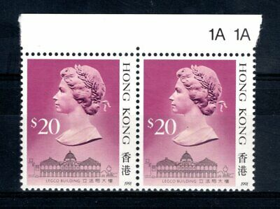 Hong Kong 1989-1991 Sg 614 $20 Definitive Margin Block of 2 Unmounted Mint MNH