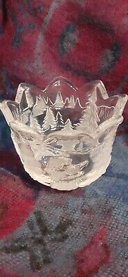 Stunning Original Walther Crystal Glass Bowl , Candle Holder Christmas Themed