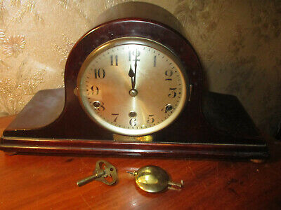 Drgm Germany C1920 Oak Cased Westminster Chime Neopoliian Hat  Mantle Clock