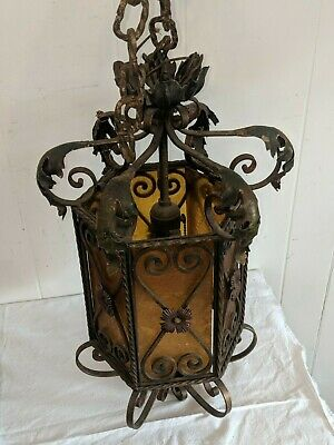Vintage Antique Italian Amber Stained Glass Chandelier Lantern