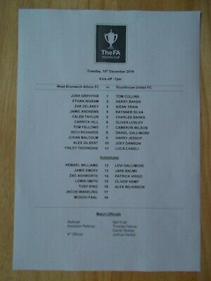 10/12/2019 West Bromwich Albion V Scunthorpe United Youth Cup Official Teamsheet