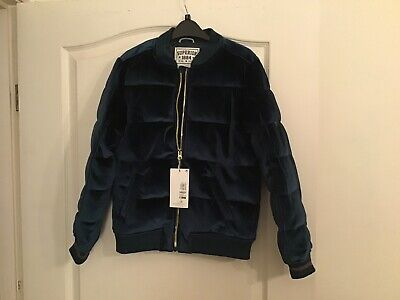 Girls Teal Velvet Marks And Spencer Bomber Jacket 11-12 BNWT