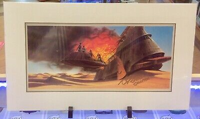 Star Wars 'Escape From Jabba' Ralph Mcquarrie Print/Signed John Coppinger - Poa