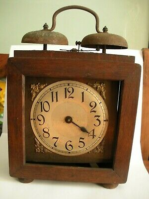 Early 20th Century Antique Wood Case Mantel Clock for repairs / spares