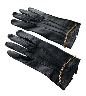 CHANEL guanti con catene in pelle 100% cuir leather gloves with chains