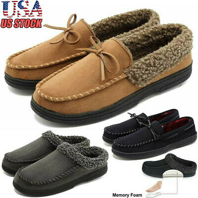 US Stock Men Loafer Slippers Suede Sherpa Shoes Moccasin Memory Foam Winter Warm