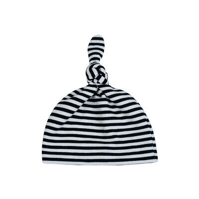Kids Summer Fashion Combed Black And White Striped Baby Knotted Hat ONE