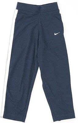 NIKE girls kid jersey pant track bottoms trousers  age 5-6 navy blue cotton