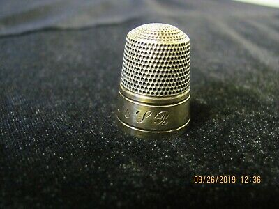 Antique Sterling Silver Thimble With Gold Band