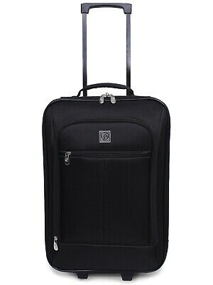 "Carry On Luggage Suitcase 18"" Cabin Bag Small Lightweight Rolling Baggage Black"