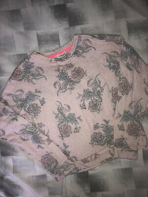 💖SALE💖 Girls River Island Pink Rose Jumper Used Fab Age 9/10 Years