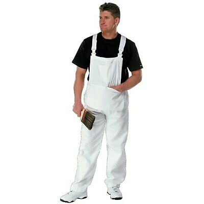Painters Bib and Brace Overalls White With Pouch Decorators Coveralls Size L