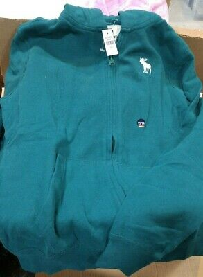 NWT Abercrombie Kids Zip Up Hoodie Sweatshirt. Boys 13/14 SHOW IN TEAL