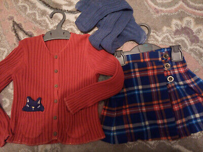 NEXT skirt tights and Marks&Spencer cardigan outfit for 2-3 years