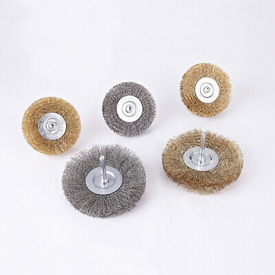 25-100mm Rotary Brass Stainless Steel Flat Wire Brush Wheel 6mm Shank for Drill