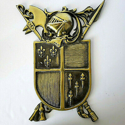 Vtg Medieval Coat Of Arms Wall Plaque Brass Color Shield Aluminum Knights Helmet