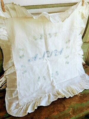 Antique Pillow Sham Embroidery Name ANNA flowers Blue and White