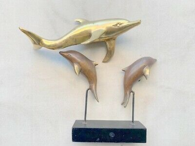 """2 used DOLPHIN aged BRASS stand hollow statue bronze patina 12"""" 6"""""""