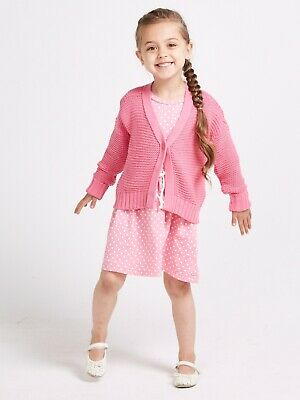 Girls Cardigan Long Sleeve Knitted Button Front Pink By Sugar Squad Age 4-5 DS17