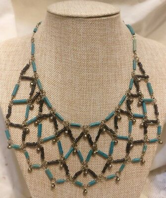 Vintage Ancient Egyptian Blue & Black Faience Bead & Bells Collar Necklace
