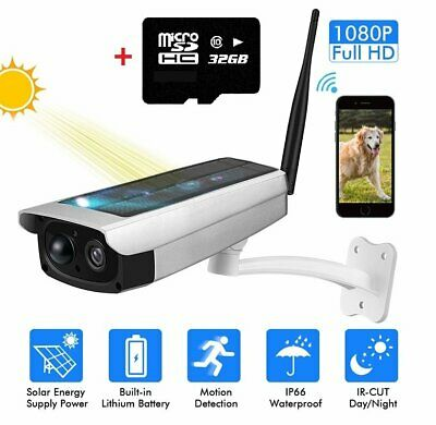 Security Camera Night 1080P HD Solar Powered Wireless Outdoor WIFI Waterproof