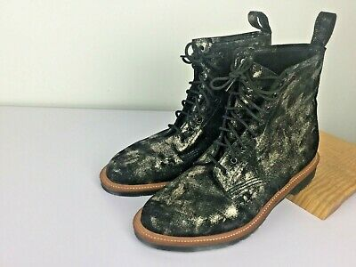 """Size 9 Dr Martens 6"""" Boots 1460 Black and Gold Mens Made in England Mint"""