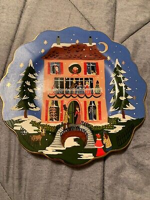 Anthropologie Rifle Paper Co Nutcracker Suite House Dessert Plate Christmas NEW