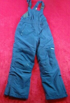 Lands' End Boys Girls Snow Ski Bib Squall Blue Pants Grow-a-Longs Size 7