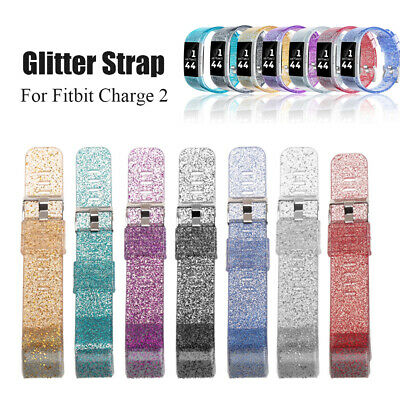 Watch Strap Silicone WatchBand Replacement Glitter Bracelet For Fitbit Charge 2