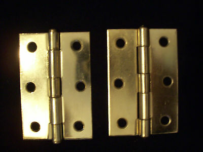 Hinges Door Hinges Brass Plated One Pair New