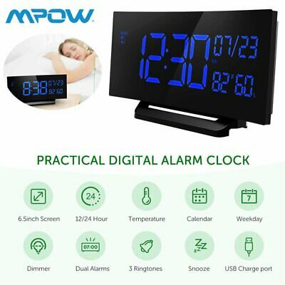 Mpow LED Digital Alarm Clock Curved Screen 3.75/'/' Large Display Clocks Xmas Gift