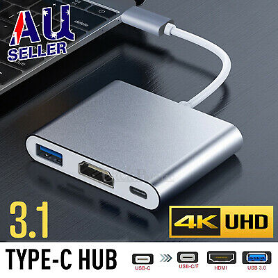 3/4in1 USB 3.1 Type-C to Female HUB USB-C 4K HD HDMI Data Charging Cable Adapter