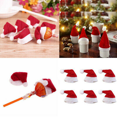 40Pcs Xmas Mini Lollipop Santa Claus Hat Cap Wrap Christmas Party Decor