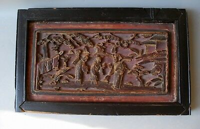 Fine Old Antique Chinese Gilt Gilded Wood Carved Relief Wall Panel