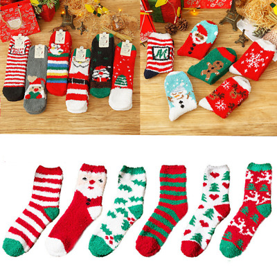 6 Pairs Ladies Soft Fluffy Cosy Bed Socks Winter Warm Christmas Gift Casual Sock