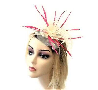 Cream and Pink Rosette Fascinator on Flexible Headband with Feathers