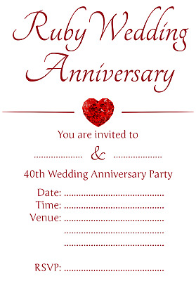 Personalised Ruby 40th Wedding Anniversary Invitations